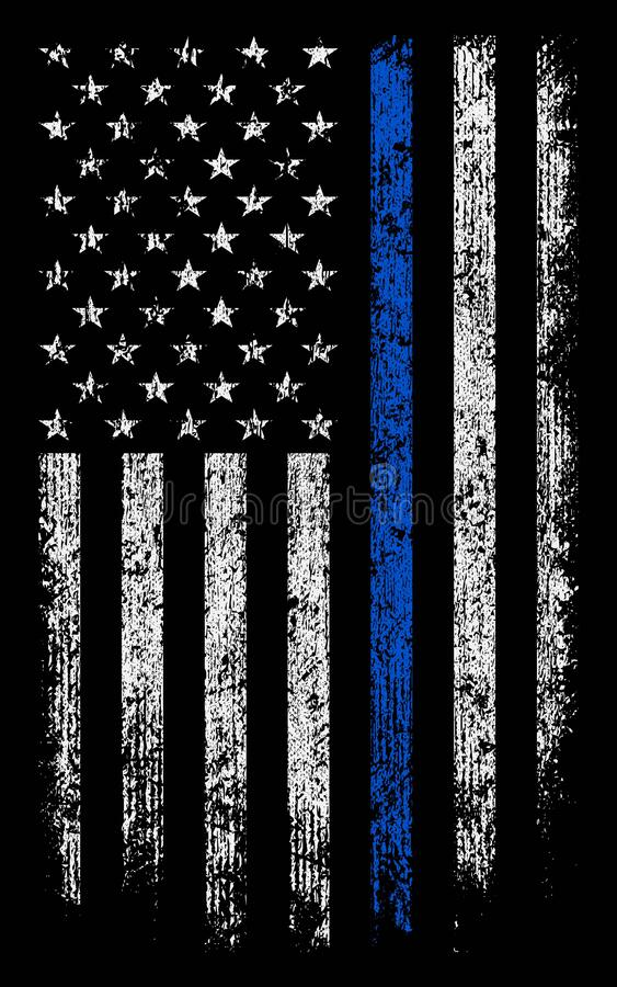 Grunge usa police with thin blue line wallpaper/background stock  royalty free stock photography