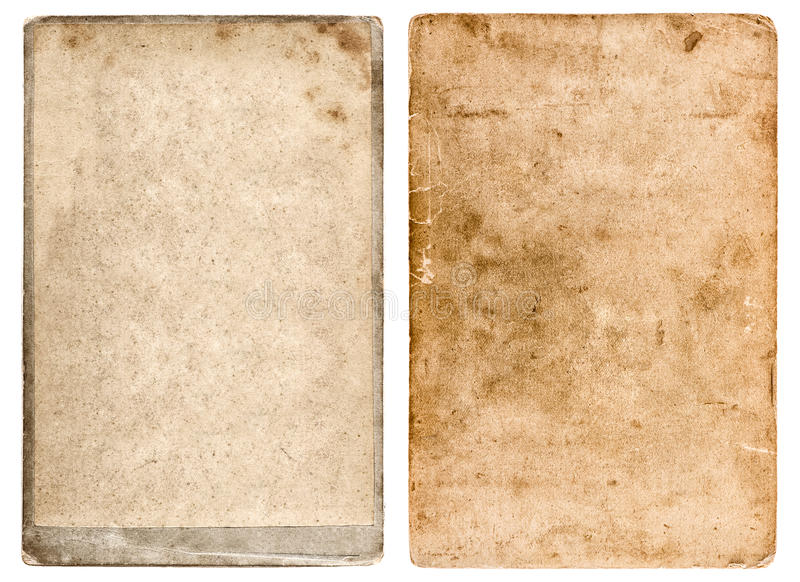 Grunge used paper background. Vintage photo frame. Isolated on white. Scrapbook objects stock photography