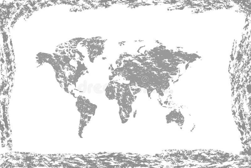 Grunge världsöversikt Gammal tappningöversikt av världen stock illustrationer