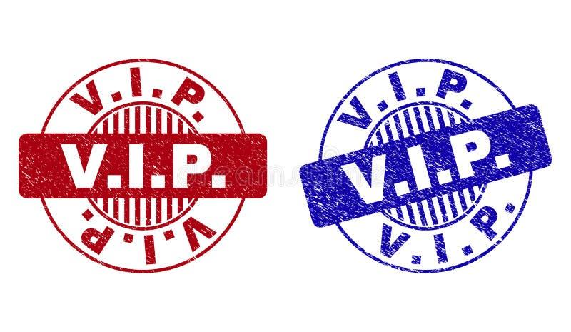 Grunge V Ja P Porysowani Round Watermarks ilustracja wektor