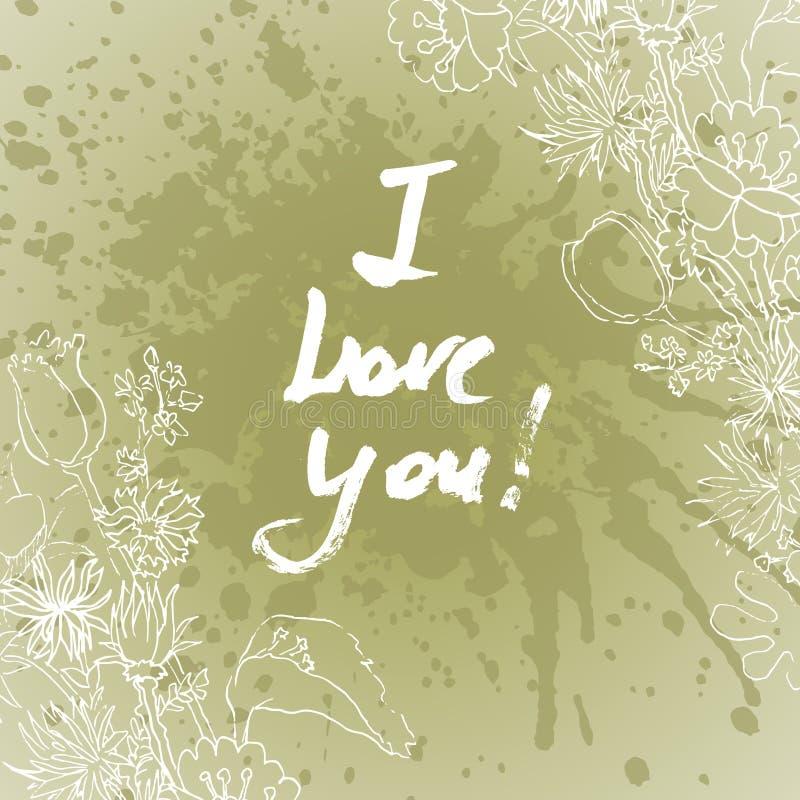 Grunge valentine karta z ręka rysującym tekstem royalty ilustracja