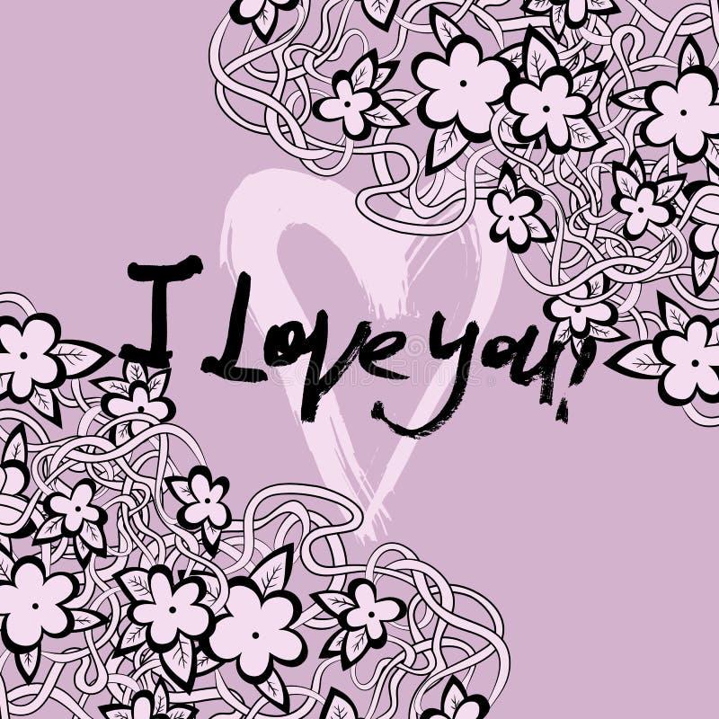 Grunge valentine karta z ręka rysującym tekstem ilustracji
