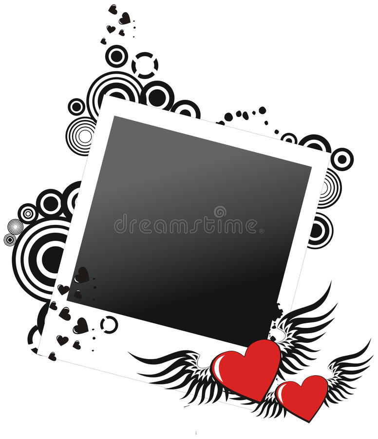Grunge valentine photo frame with two hearts royalty free illustration