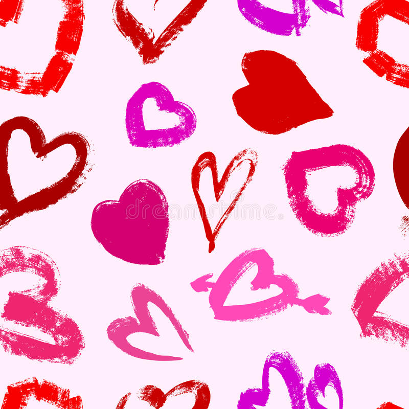 Download Grunge Valentine's Seamless Pattern With Hearts Stock Illustration - Image: 28648341
