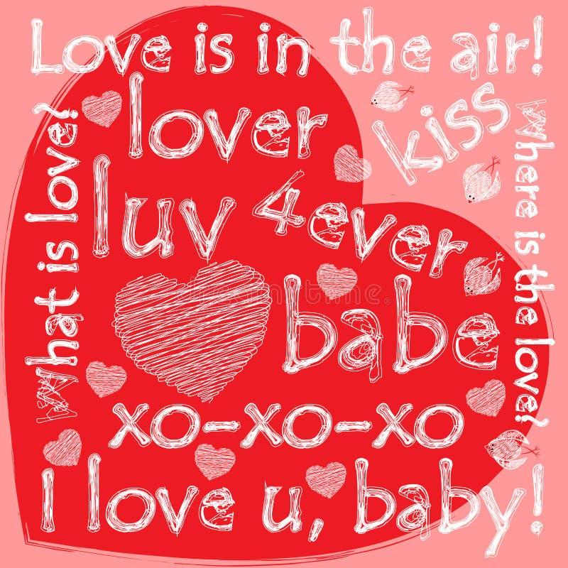 Grunge valentine serce z doodles royalty ilustracja