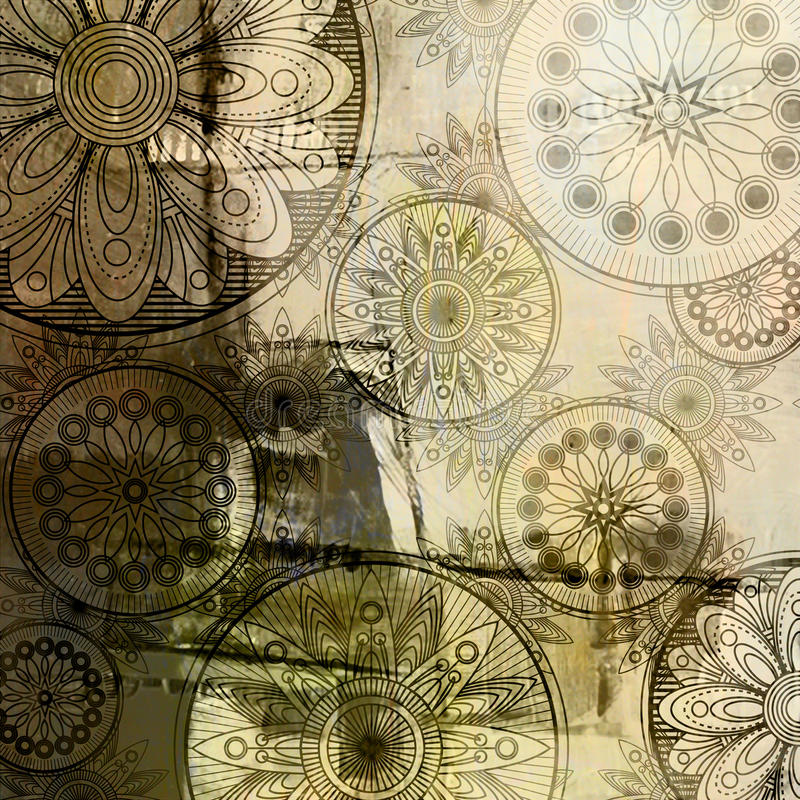 Grunge van de kunst bloemenpatroon als achtergrond stock illustratie