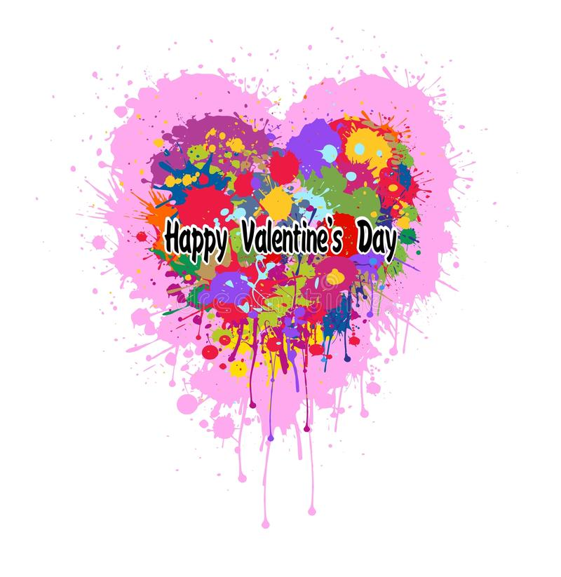 Valentines Heart made of colorful splashes of paint vector illustration