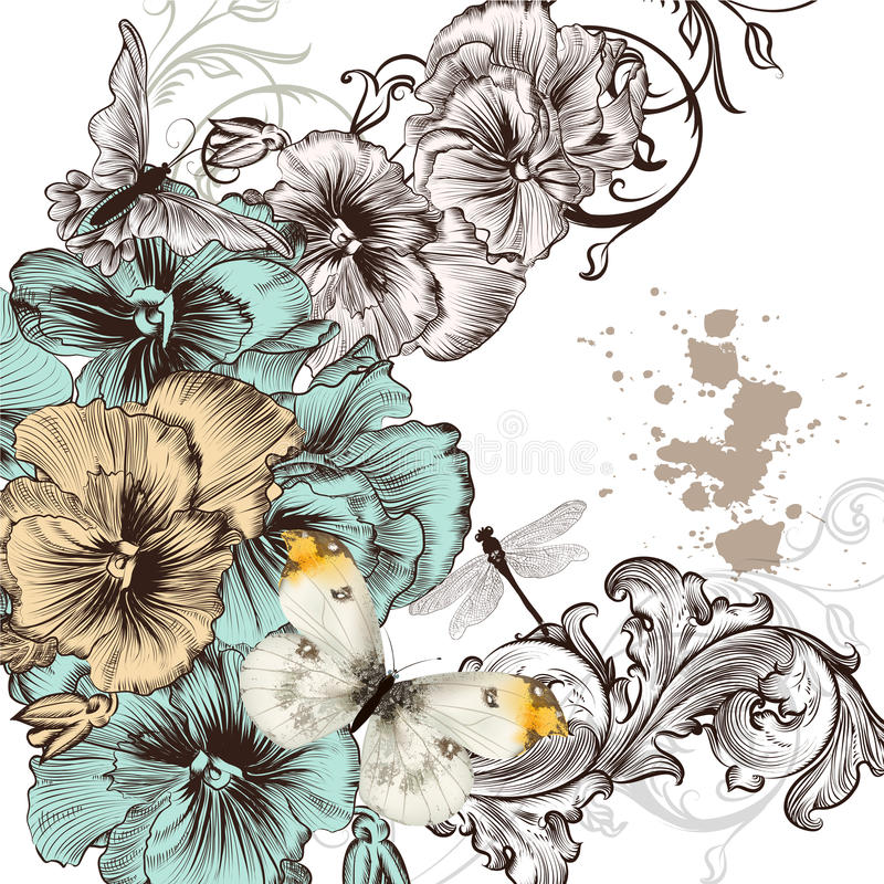 Download Grunge Vector Background With Violent  Flowers For Design Stock Vector - Image: 36341410