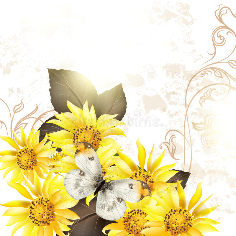 Download Grunge Vector Background With Yellow Flowers For Design Stock