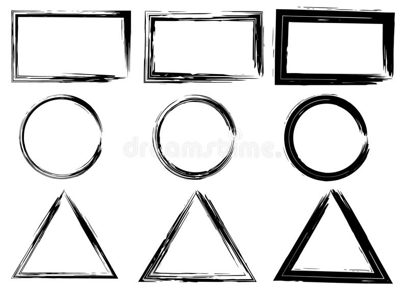 Grunge vector circles, triangles and rectangles. Brush strokes set. royalty free illustration