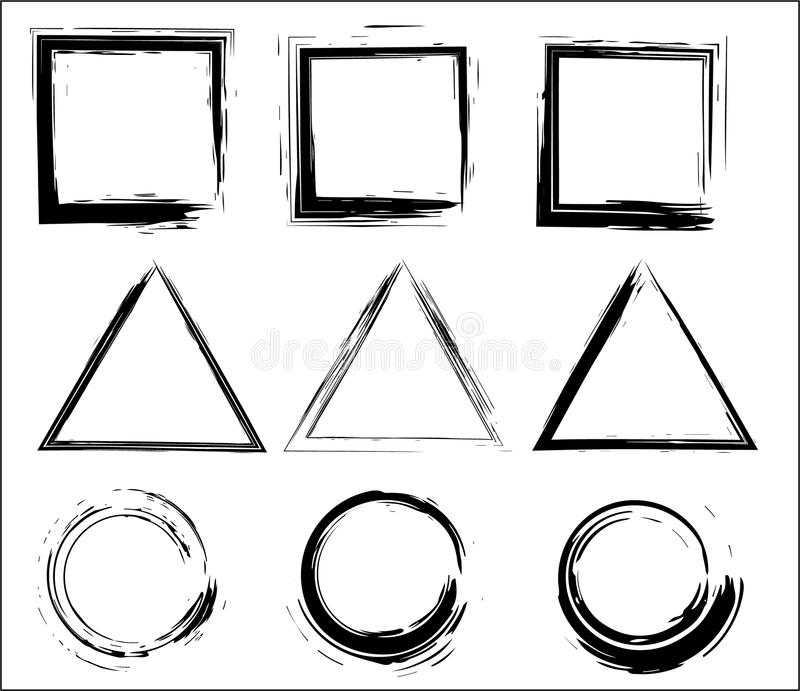 Grunge vector circles, triangles and rectangles. Brush strokes set. stock illustration