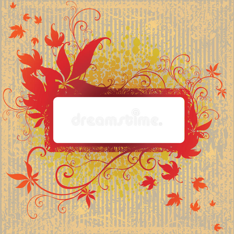 Download Grunge Vector Frame With Autumn Leafs. Thank Stock Vector - Illustration of botany, pattern: 11405913