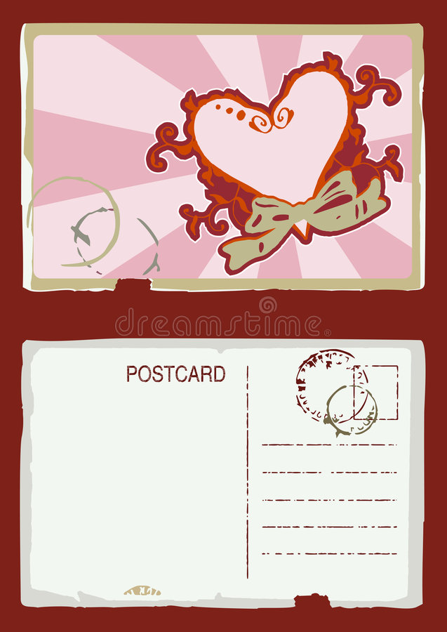 Grunge Vector Heart Postcard Stock Photo
