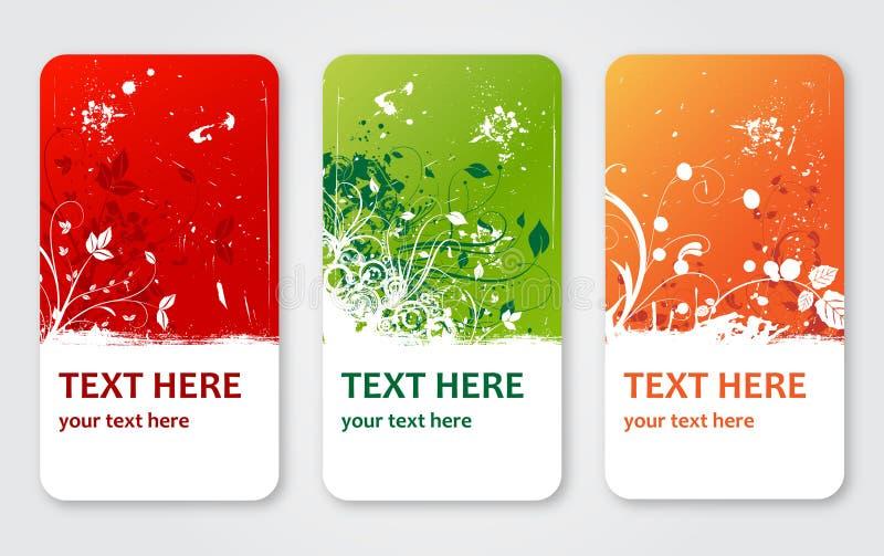 Grunge vektorblume beschriftet Fahnen oder Besuchskarten lizenzfreie abbildung
