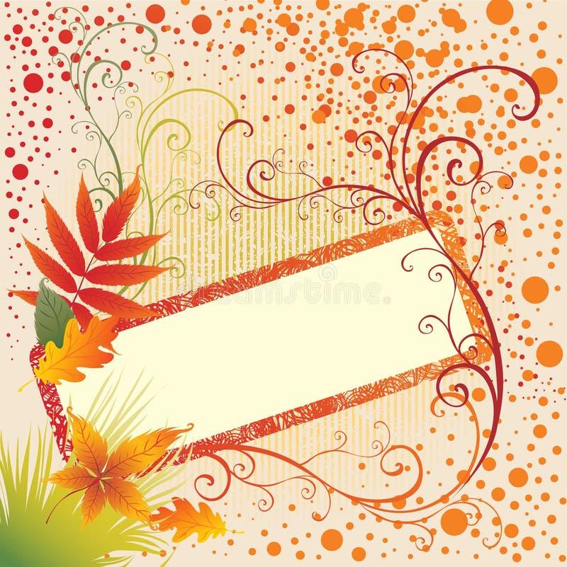 Grunge vektorfeldhintergrund mit Herbst-Blättern. stock abbildung