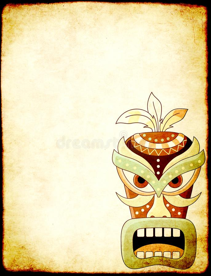 Grunge background with old paper texture and tiki tribal mask. Grunge vertical background with old soiled paper texture and tiki tribal mask. Copy space for text royalty free stock photo