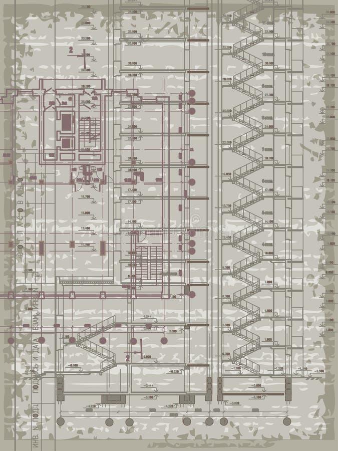 Grunge verticale architecturale achtergrond met elementen van plan en sectie stock illustratie