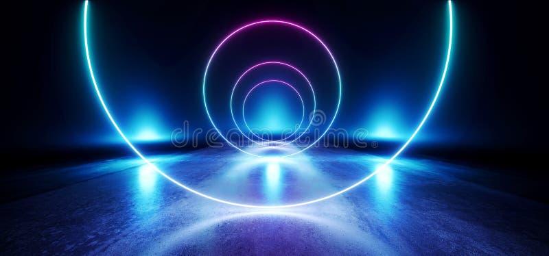 Grunge vide de réflexion de pourpre de cercle d'étape de lueur de Sci fi d'étalage de réalité virtuelle foncée vibrante au néon b illustration stock