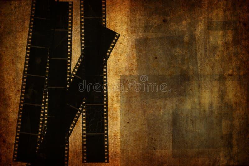 Grunge vintage background with used film strips royalty free illustration
