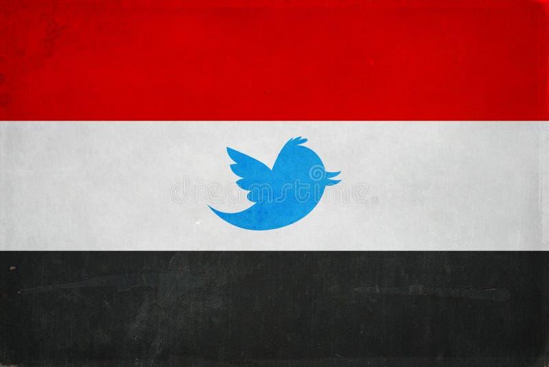 Egypt flag twitter symbol Banning twitter in Egypt restriction symbol stock photo