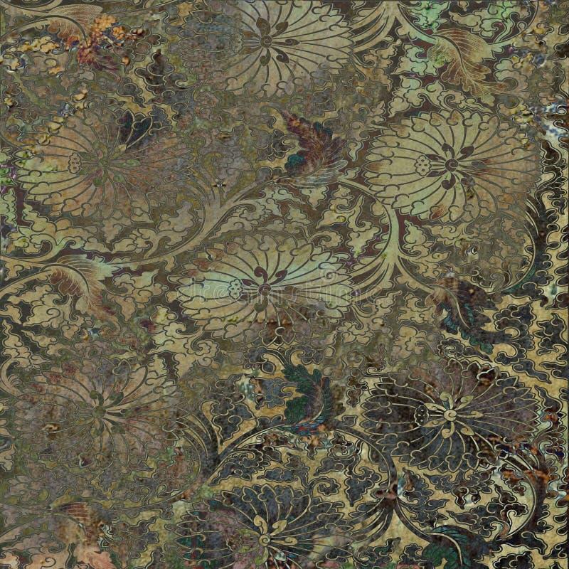 Grunge Vintage Batik Floral Background royalty free stock photo