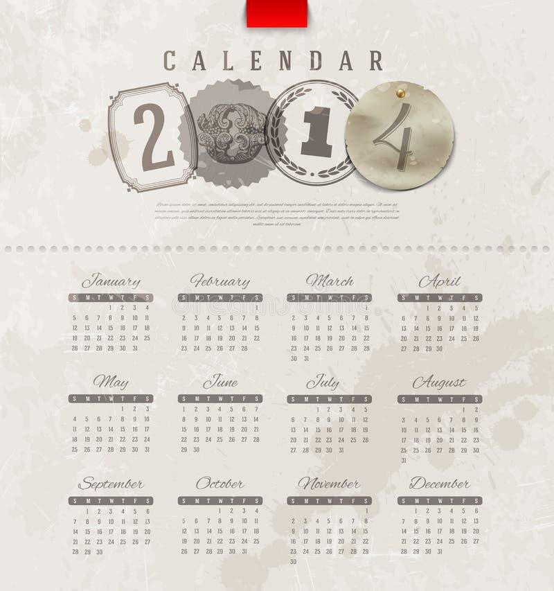 Calendar Design Letters : Grunge vintage calendar of stock vector image