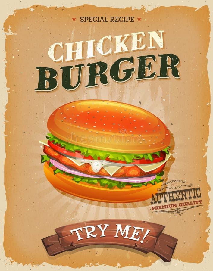 Grunge And Vintage Chicken Burger Poster royalty free illustration