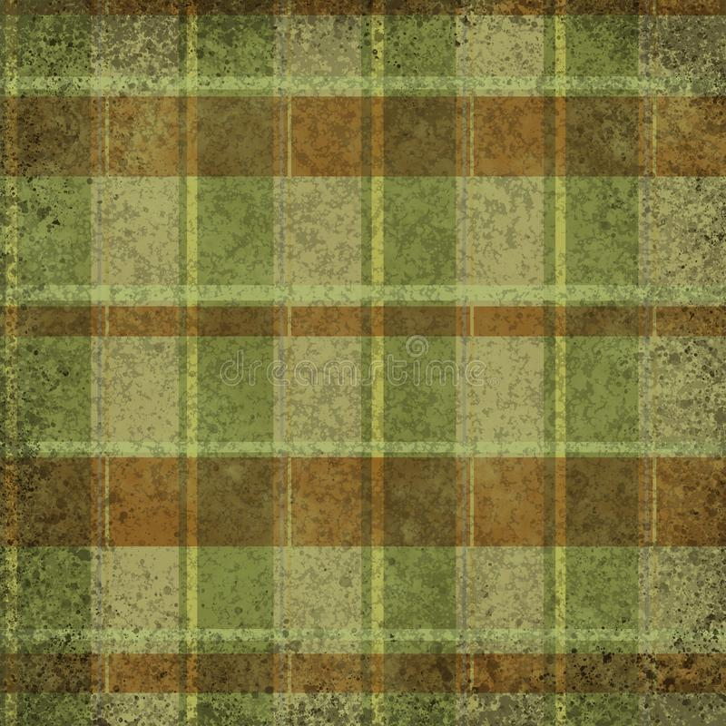 Grunge vintage distressed dark green and brown vertical and horizontal stripes tartan, plaid. Pattern background royalty free illustration