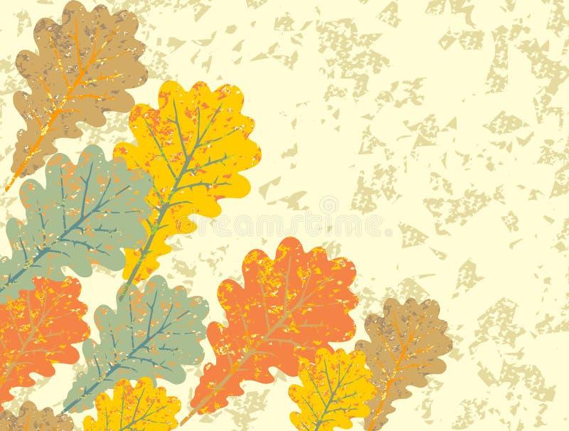 Download Grunge Vintage Oak Leaves Background Stock Vector - Image: 34337135