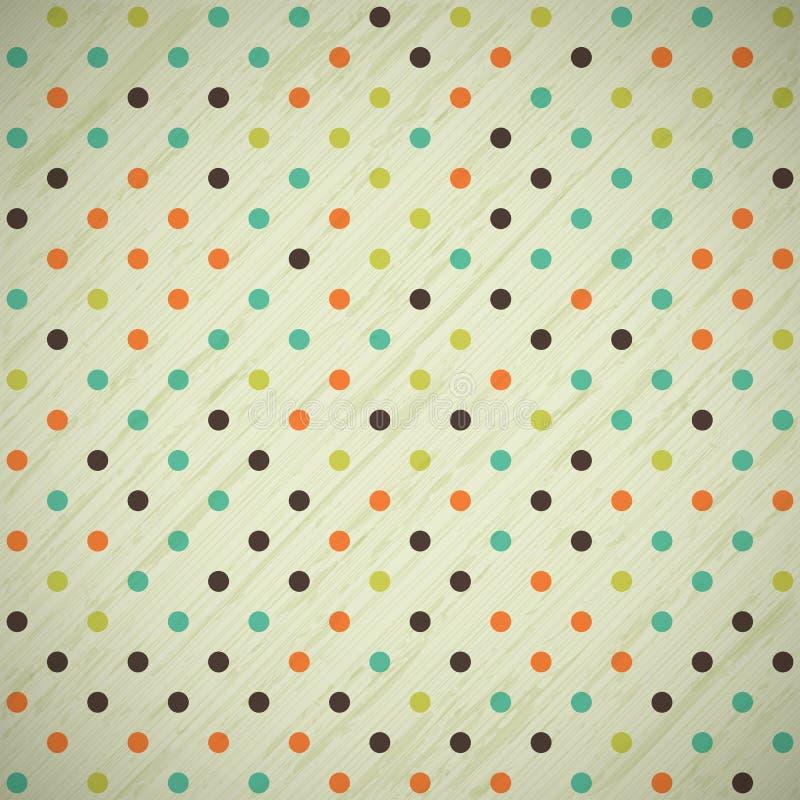 Grunge vintage retro background with polka dots vector illustration
