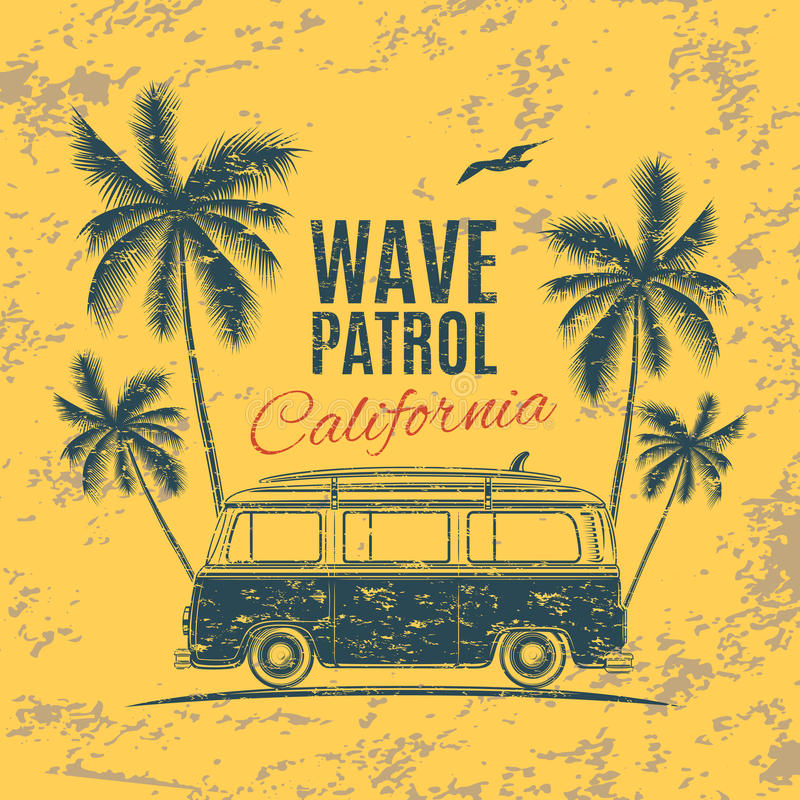 Grunge, vintage, retro surf van. With palms and a gull. Handdrawn t-shirt graphic, print. Vector illustration royalty free illustration