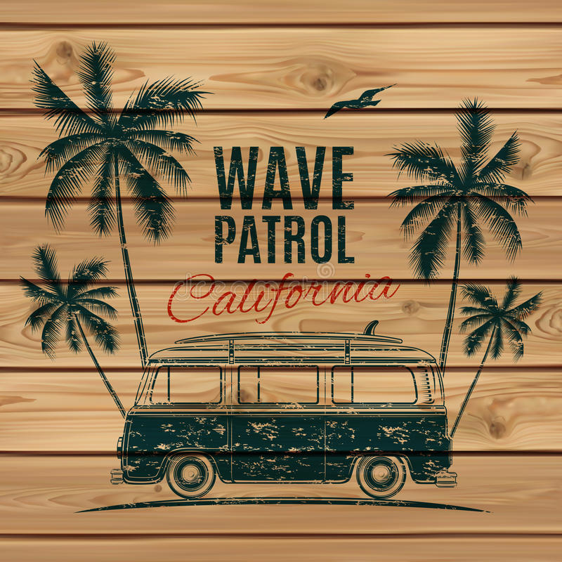 Grunge, vintage, retro surf van. With palms and a gull, on wooden planks. Vector illustration stock illustration