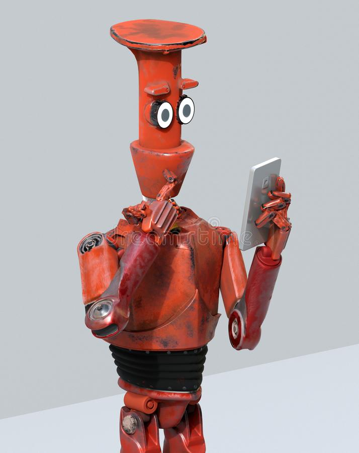 Grunge vintage robot look on cell phone. 3D rendering royalty free illustration