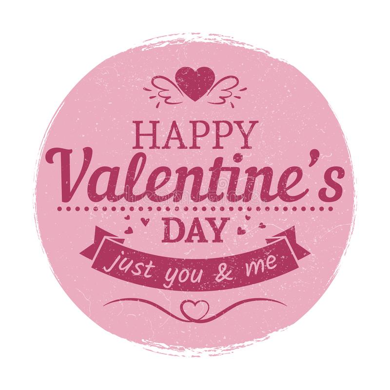 Grunge Vintage Valentines Day Label  Love Card Template Stock