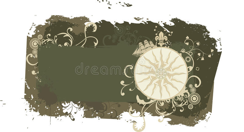 Grunge vintage vector travel frame with wind rose stock photos