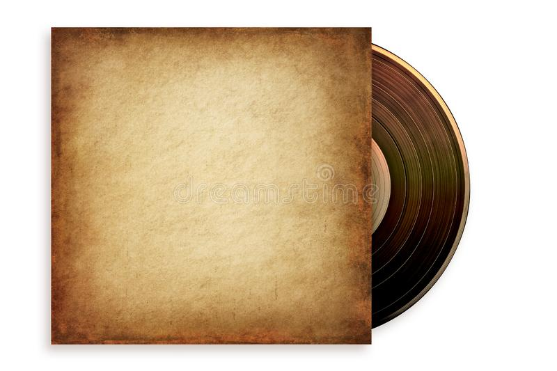 Grunge Vinyl in Case. Old grunge vinyl record in a paper case, isolated on white. Path included stock photos