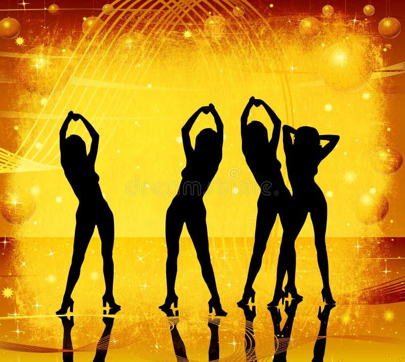 Grunge, vrouwen het dansen royalty-vrije illustratie