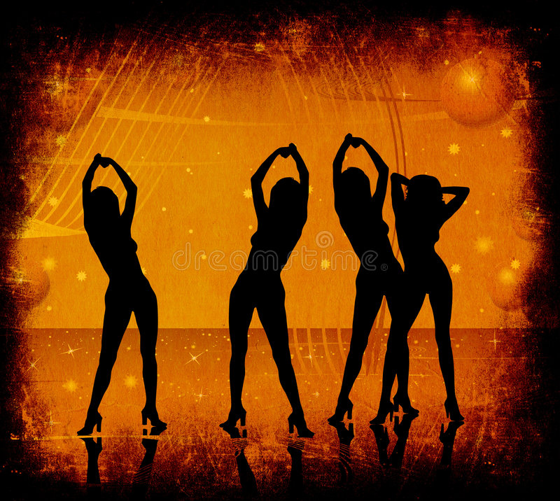 Grunge, vrouwen het dansen vector illustratie
