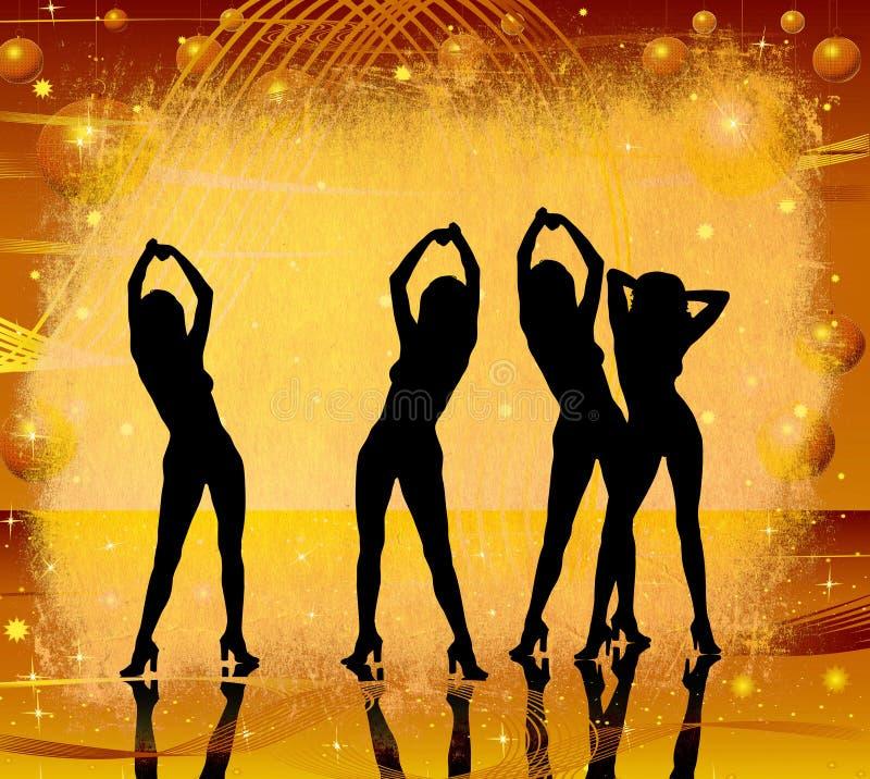 Grunge, vrouwen het dansen stock illustratie