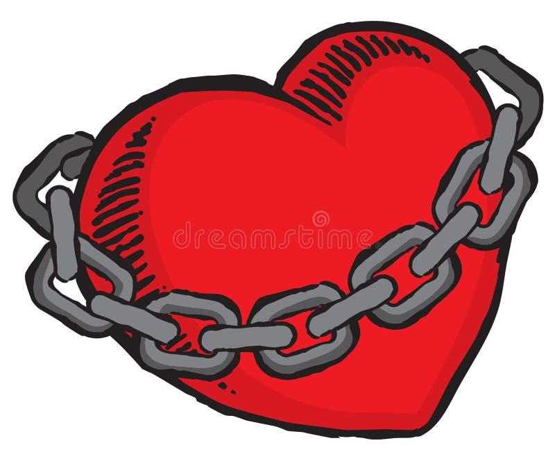 Grunge walentynki serca granica łańcuchami ilustracji