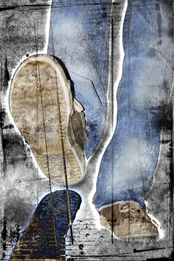 Download Grunge walking stock illustration. Image of giant, laces - 6349615