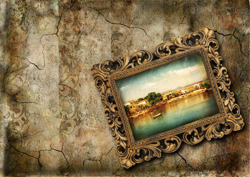 Grunge wall with painting royalty free illustration