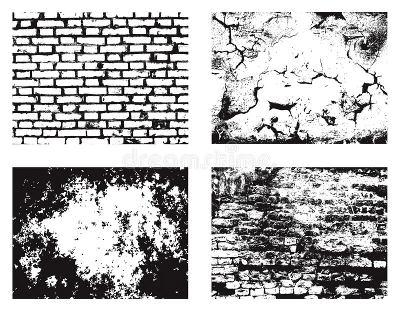 Grunge wall textures set vector illustration