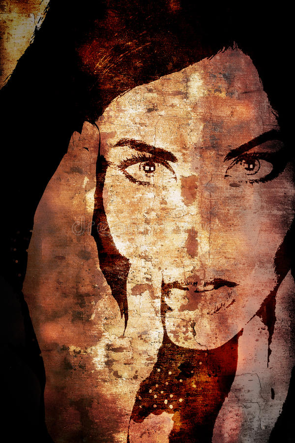 Grunge wall with woman's face royalty free illustration
