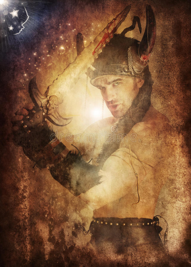 Grunge warrior. Magical fantasy portrait of a heroic warrior weilding sword fighting back the night with cool grunge aging overlay effects stock photos