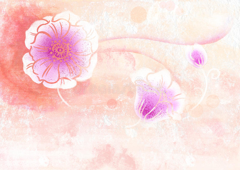 Download Grunge Watercolor Of Cherry Flower Stock Illustration - Image: 12323423