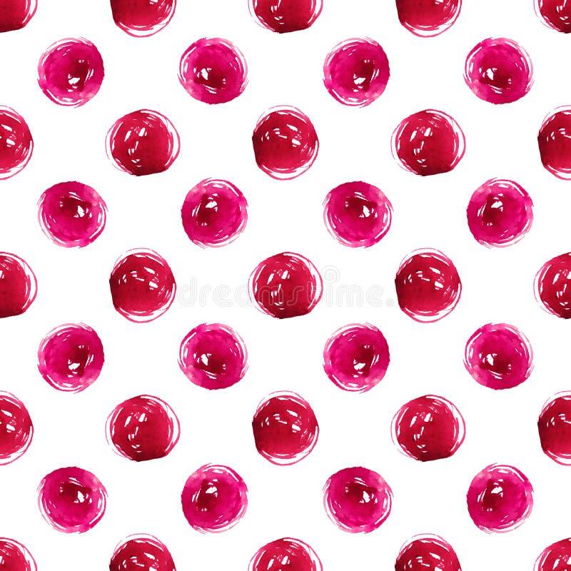 Grunge watercolor seamless pattern pink polka dot royalty free illustration