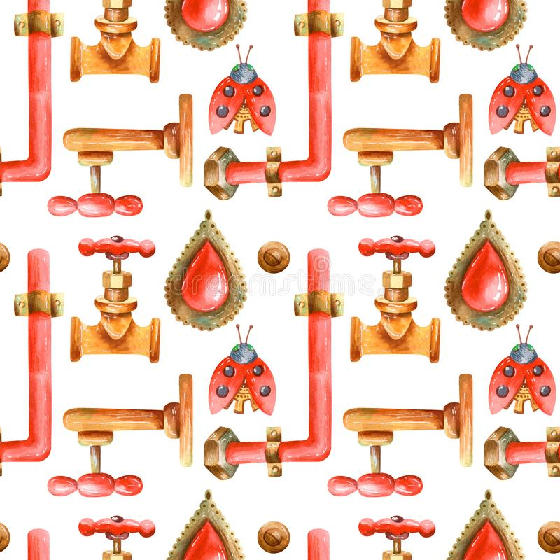 Grunge watercolor seamless pattern in retro style with steampunk elements royalty free illustration