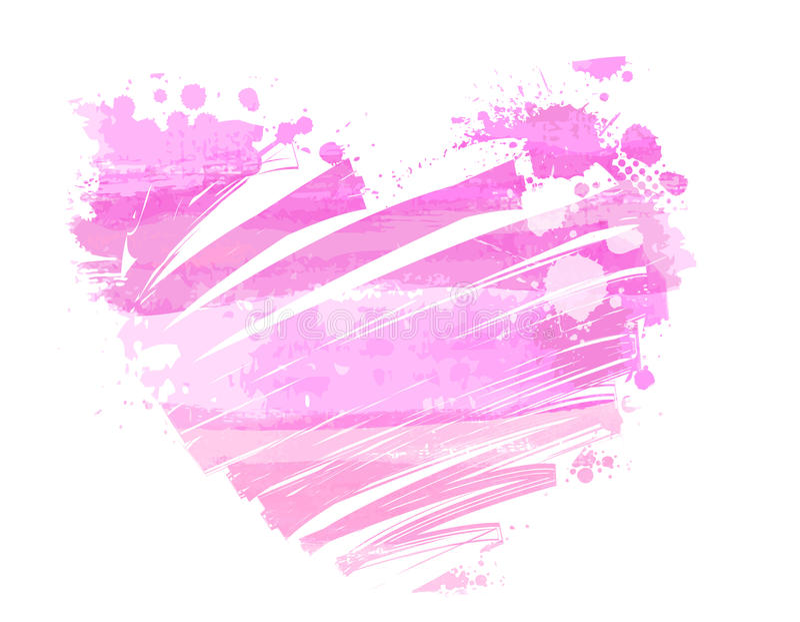 Grunge watercolored hart stock illustratie
