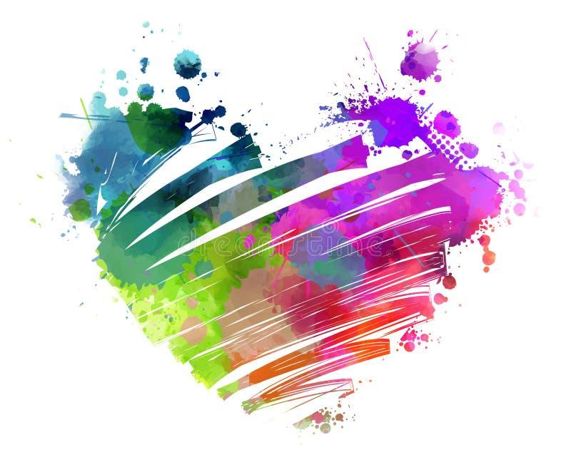 Grunge watercolored hart royalty-vrije illustratie